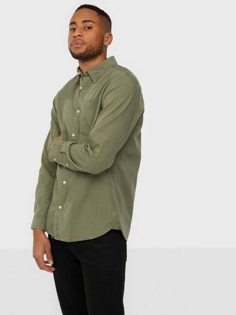 Jack & Jones Jjewashed Tencel Shirt L/S Skjorter Dusty Olive Comfort Fit