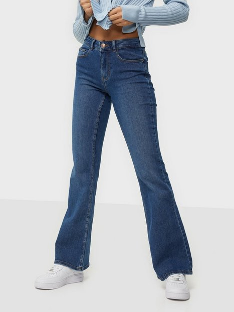 Pieces Pcpeggy Flared Mw Jeans-Vi Bc Medium Blue Denim