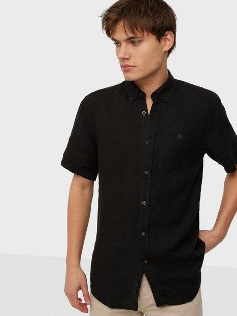 Morris Douglas BD Linen Shirt SS Skjorter Black