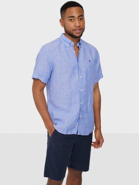Morris Douglas Linen Shirt SS Skjorter Blue