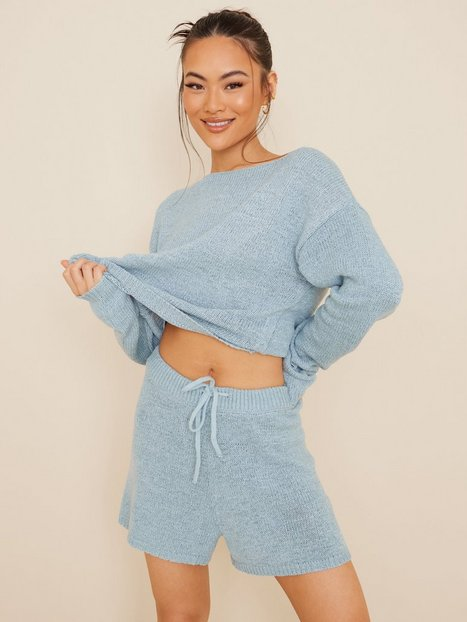 NLY Trend Comfy Knit Shorts Shorts Blå