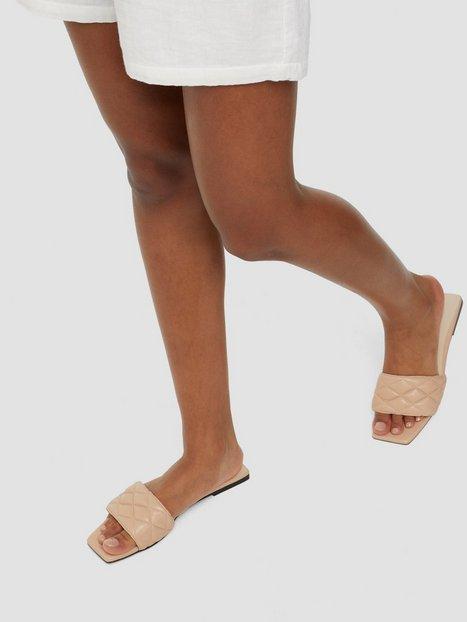 NLY Shoes Padded Slip In Square Flat Sandaler Beige
