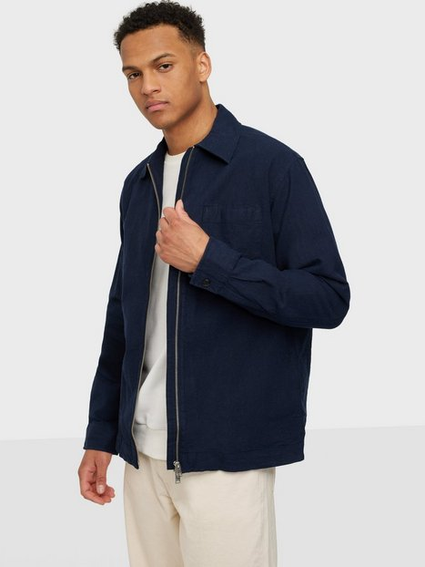 Selected Homme Slhloosedayton Shirtjacket Ls Zip W Skjorter Navy Blazer