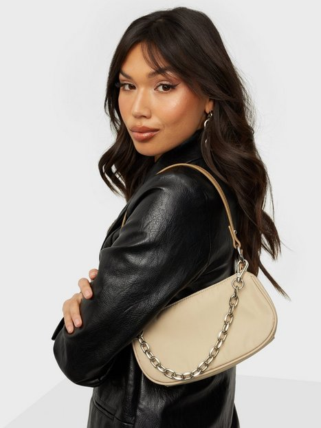 NLY Accessories Small Chain Bag Håndtasker Light Beige