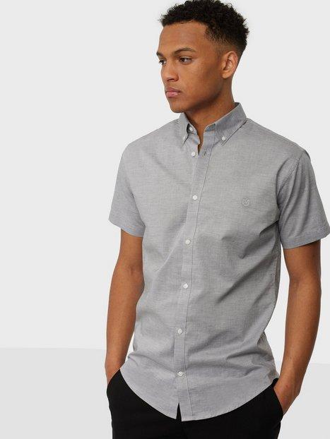Jack & Jones Jprblalogo Spring Shirt S/S Skjorter Light Grey Melange Slim Fit