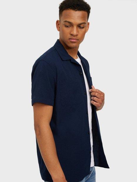 Selected Homme Slhregdeclan Shirt Ss W Skjorter Navy Blazer