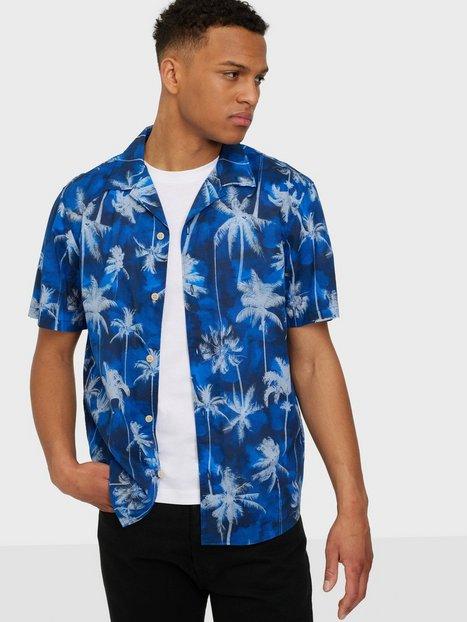 Selected Homme Slhrelaxsimon Shirt Ss Aop U Skjorter Dark Blue Aop