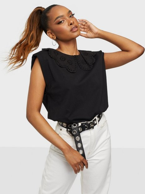 Only Onlpernille S/L Collar Top Jrs Festtoppe Black