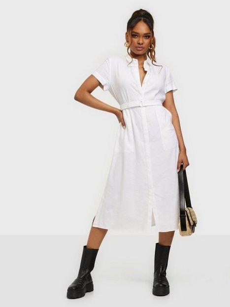 Calvin Klein Ss Linen Midi Shirt Dress Hverdagskjoler