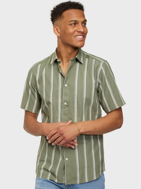 Only & Sons Onstravis Life Ss Striped Thin Oxfo Skjorter Oil Green