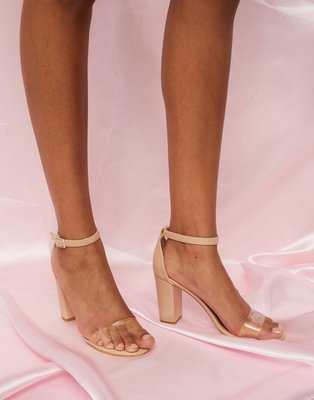 NLY Shoes Clear Toe Strap Heel High Heel Beige