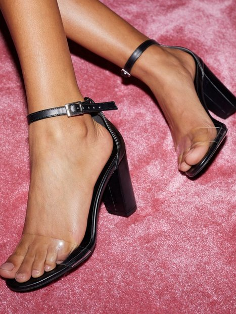 NLY Shoes Clear Toe Strap Heel Heels Sort