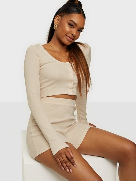 NLY Trend Cardigan Short Set Playsuits Creme