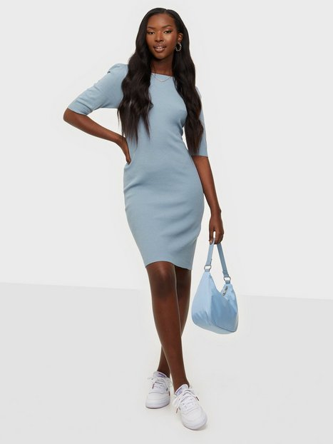 Jacqueline de Yong Jdykady S/S Dress Knt Tætsiddende kjoler Dusty Blue