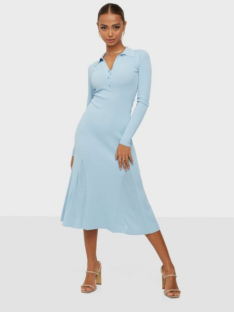 Adoore Collar Knitted Dress Tætsiddende kjoler Blue