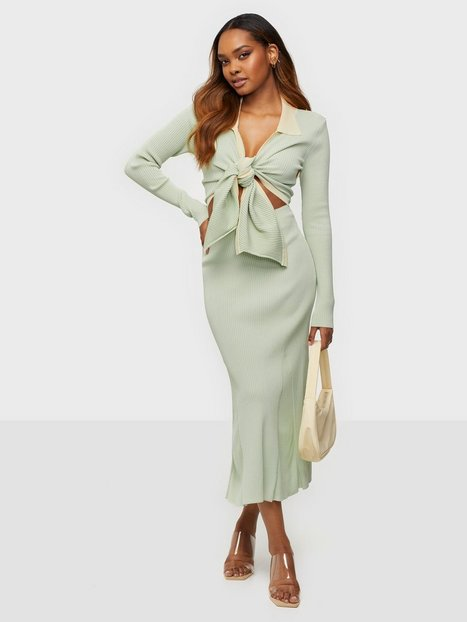 Adoore Knitted Riviera Set Tætsiddende kjoler Pistachio