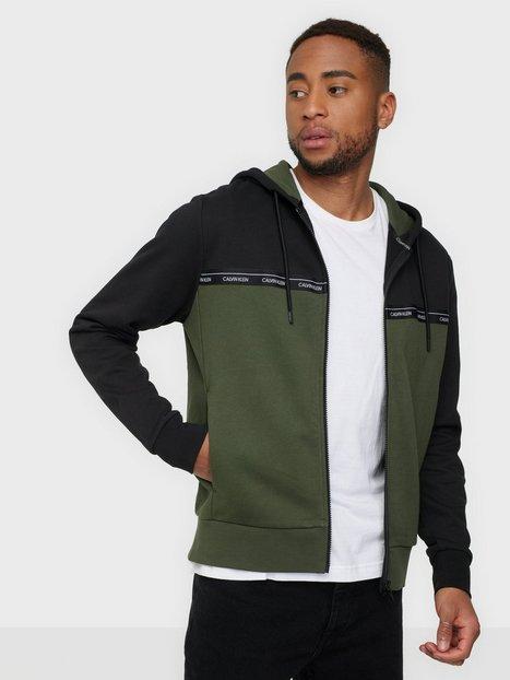 Calvin Klein Logo Stripe Zip-Through Hoodie Trøjer Green