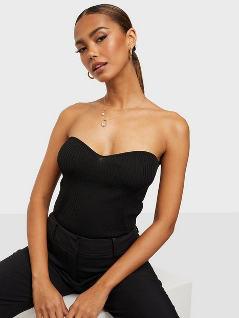 Gina Tricot Pia knitted top Off shoulder toppe Black