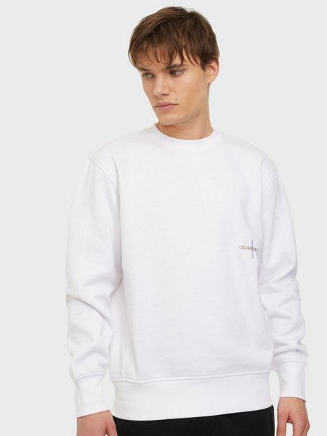 Calvin Klein Jeans Off Placed Iconic Crew Neck Trøjer White