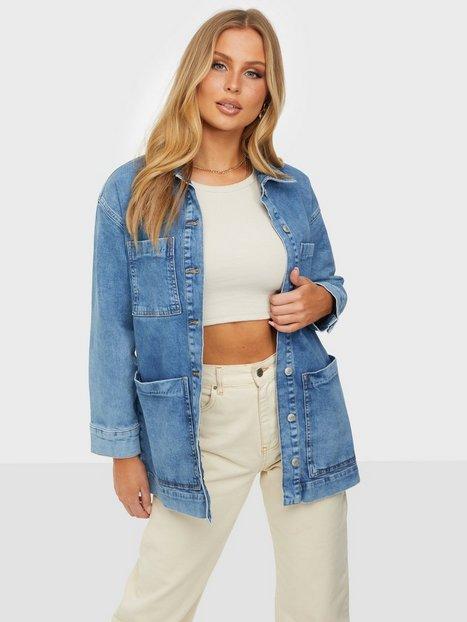 Selected Femme Slfcatelin Mid Blu Ls Lon Jeans Jac Denimjakker