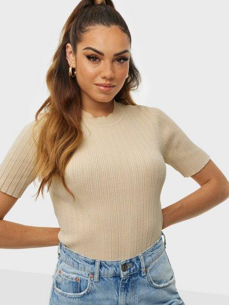 Selected Femme Slfqueen Ss Rib Knit O-Neck M T-shirts