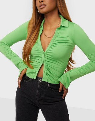 NLY One Cropped Collar Top Toppe Grøn