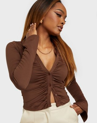NLY One Cropped Collar Top Crop tops Brun