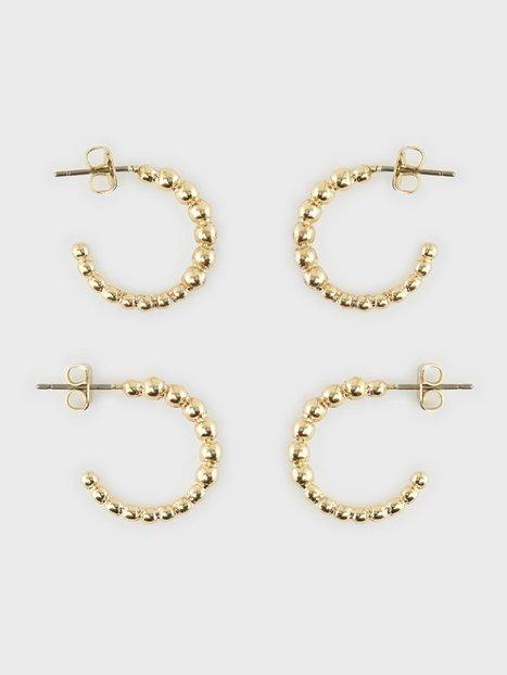 Pieces Pcfibea 2-Pack Hoop Earrings Øreringe Gold Colour