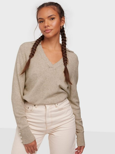 Vila Viril Polo L/S Knit Top Strikkede trøjer