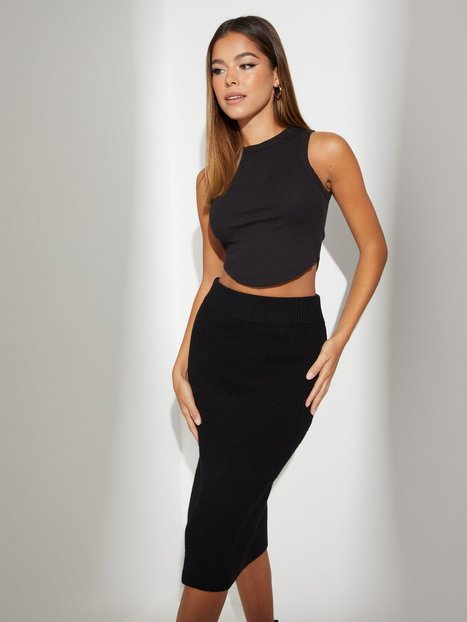 Vila Viril Pencil Hw Knit Skirt - Noos Midi nederdele Black