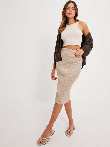 Vila Viril Pencil Hw Knit Skirt - Noos Midi nederdele Natural Melange