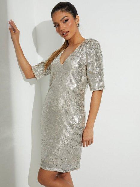 Vila Visavias Sequin V-Neck 2/4 Dress/Dc Pailletkjoler