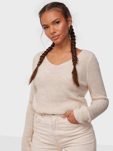 Vila Vioktavi V-Neck L/S Knit Top/Su - N Strikkede trøjer Super Light Natural Melan