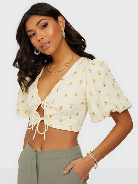 Kiss The Sky Puff Sleeve Tie Blouse T-shirts