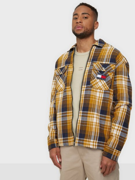 Tommy Jeans Tjm Check Zip Overshirt Skjorter Gold