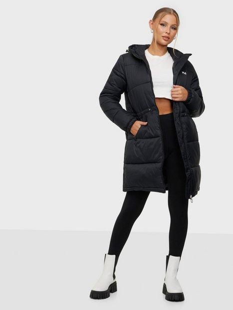 Fila EMBLA long hooded puff jacket Dunjakker Black