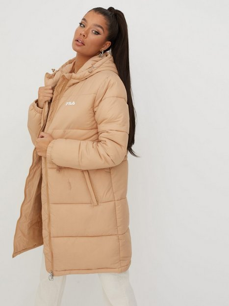 Fila EMBLA long hooded puff jacket Dunjakker Cuban Sand