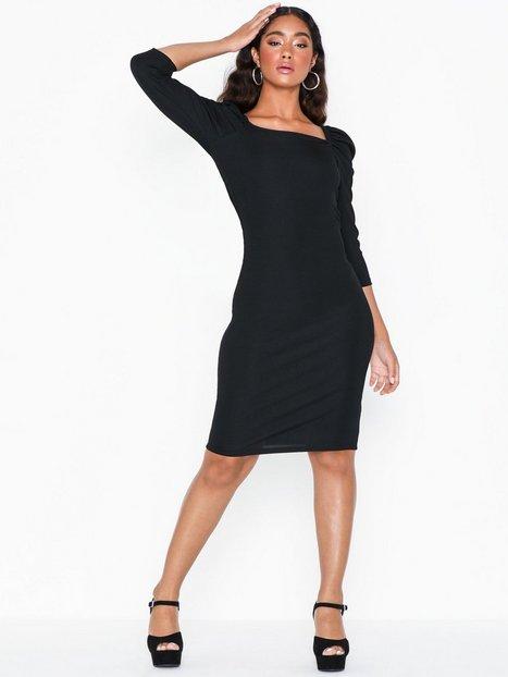 River Island Poppy Rib Mini Dress Festklänningar Black