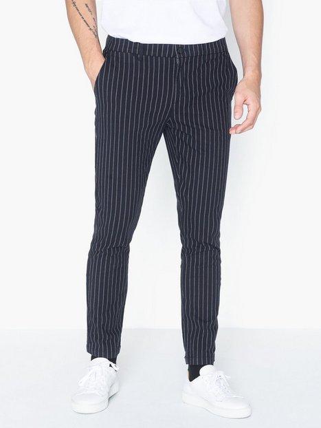 River Island Skinny Santo Stripe Trouser Bukser Navy mand køb billigt