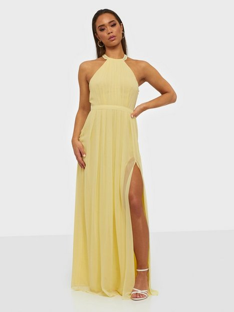 NLY Eve Halterneck Beaded Gown Maxikjoler Lysegul