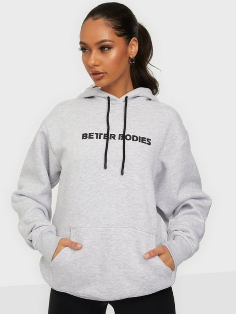 Better Bodies Logo Hoodie Træningstrøjer Light Grey Melange