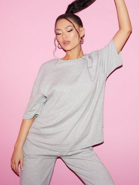 Nicki Studios Logo Cotton Tshirt T-shirts Grey Melange