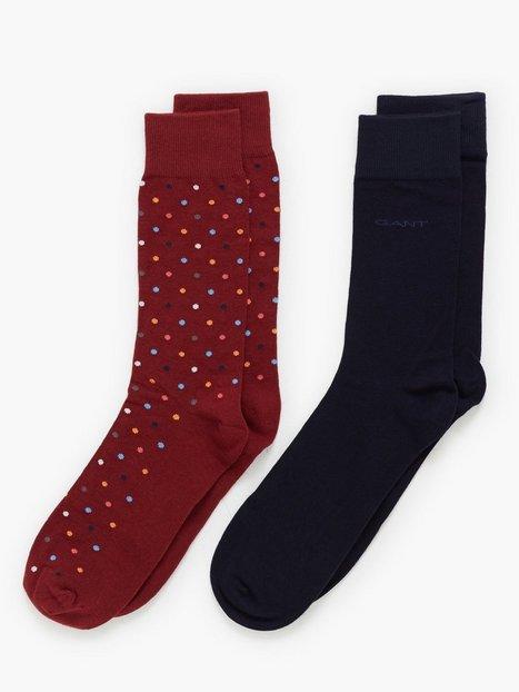 Gant D1. 2PACK Solid and Multi Dot Sock Strømper Crimson - herre