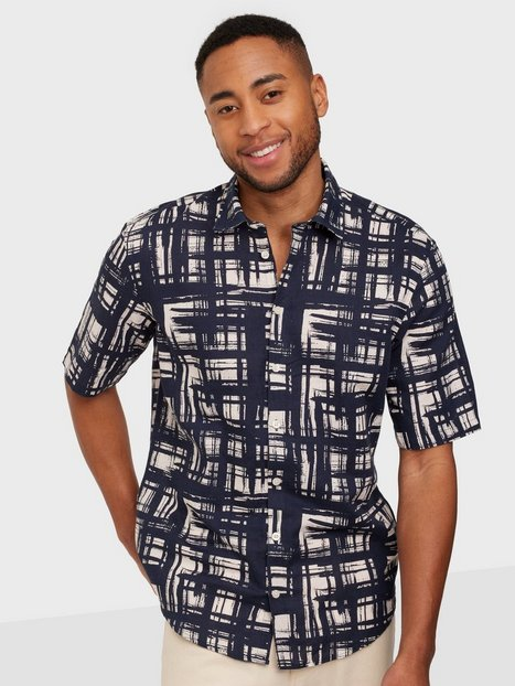 Casual Friday Alvin SS all over printed Skjorter Navy Blazer