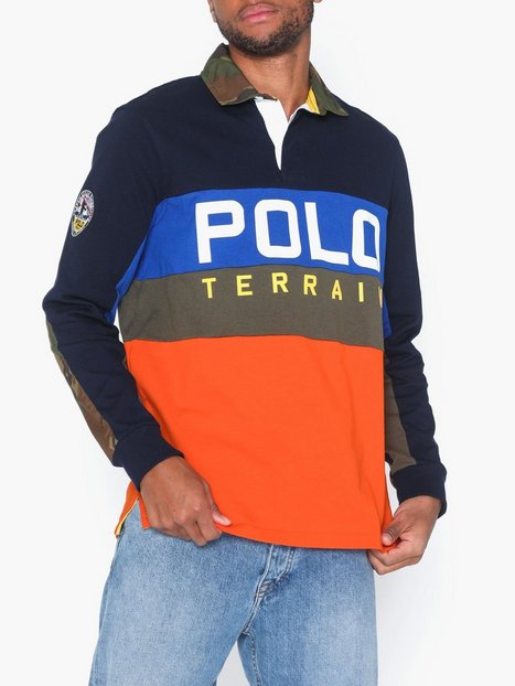 Polo Ralph Lauren Rugby Long Sleeve Knit Polotrøjer Navy Multi - herre
