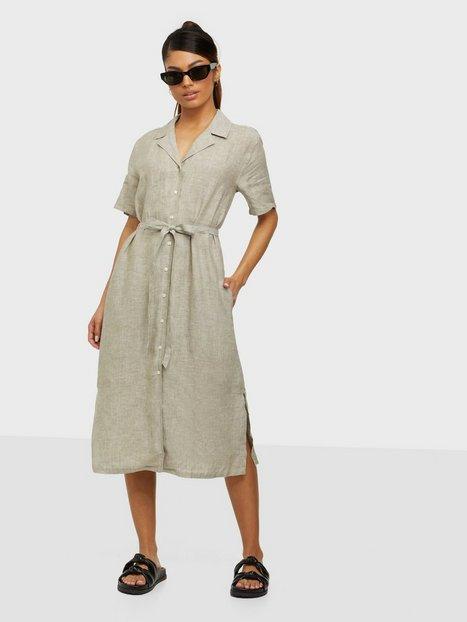 Gant D2. Linen Chambray Ss Shirt Dress Loose fit dresses Green