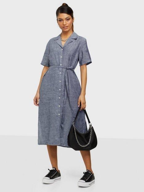 Gant D2. Linen Chambray Ss Shirt Dress Loose fit dresses Persian Blue