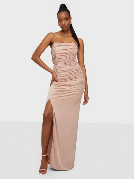 Rare London Ruched Drape Split Maxi Dress Maxikjoler