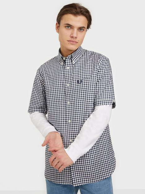 Fred Perry Gingham S/S Shirt Skjorter Carbon Blue