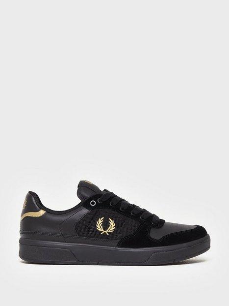 Fred Perry B300 Lthr Mesh Suede Sneakers Black - herre